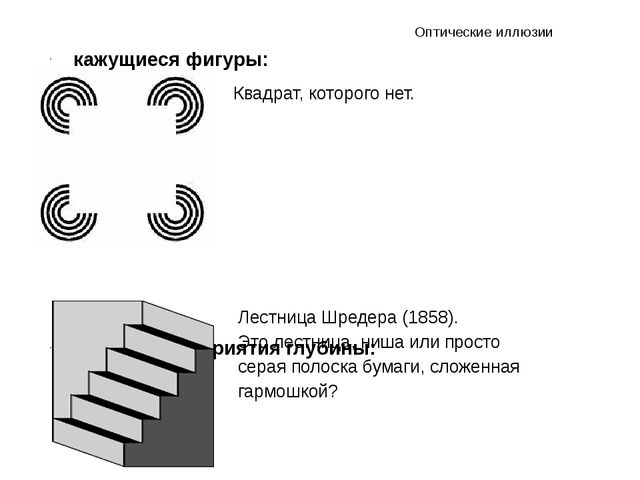 кажущиеся фигуры: иллюзии восприятия глубины: Оптические иллюзии Квадрат, кот...