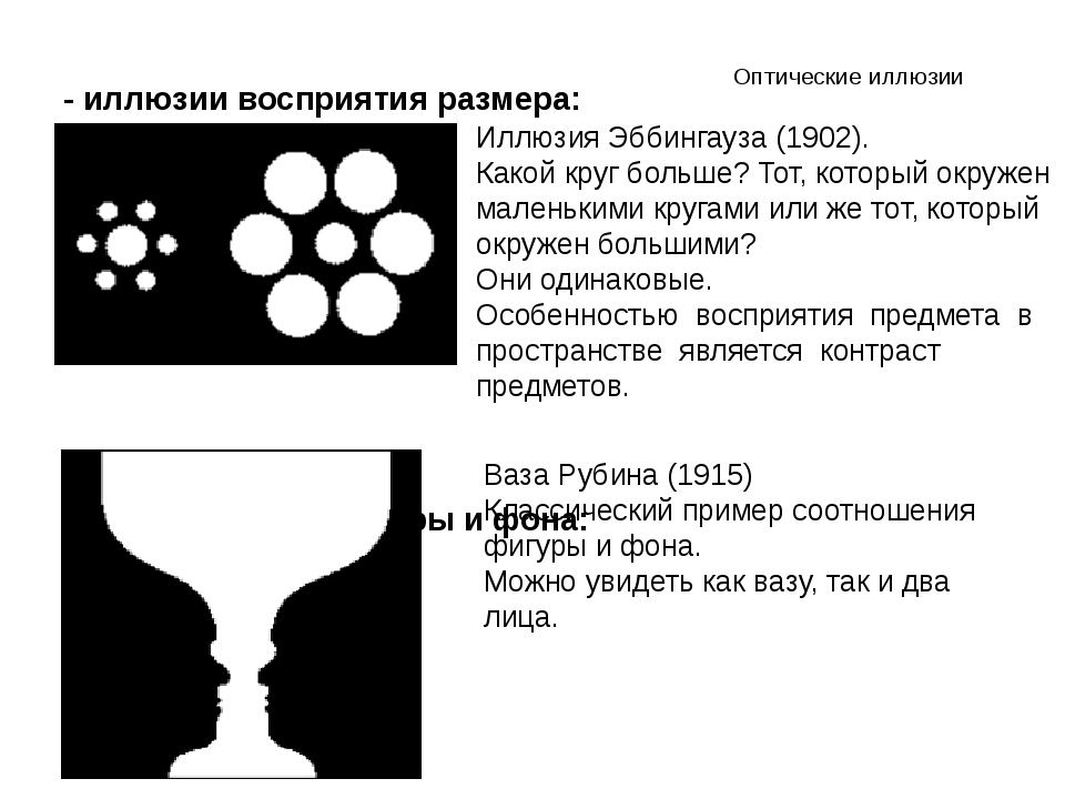Оптические иллюзии - иллюзии восприятия размера: соотношение фигуры и фона: И...