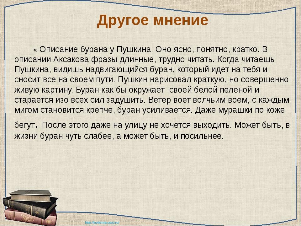 Другое мнение « Описание бурана у Пушкина. Оно ясно, понятно, кратко. В оп...