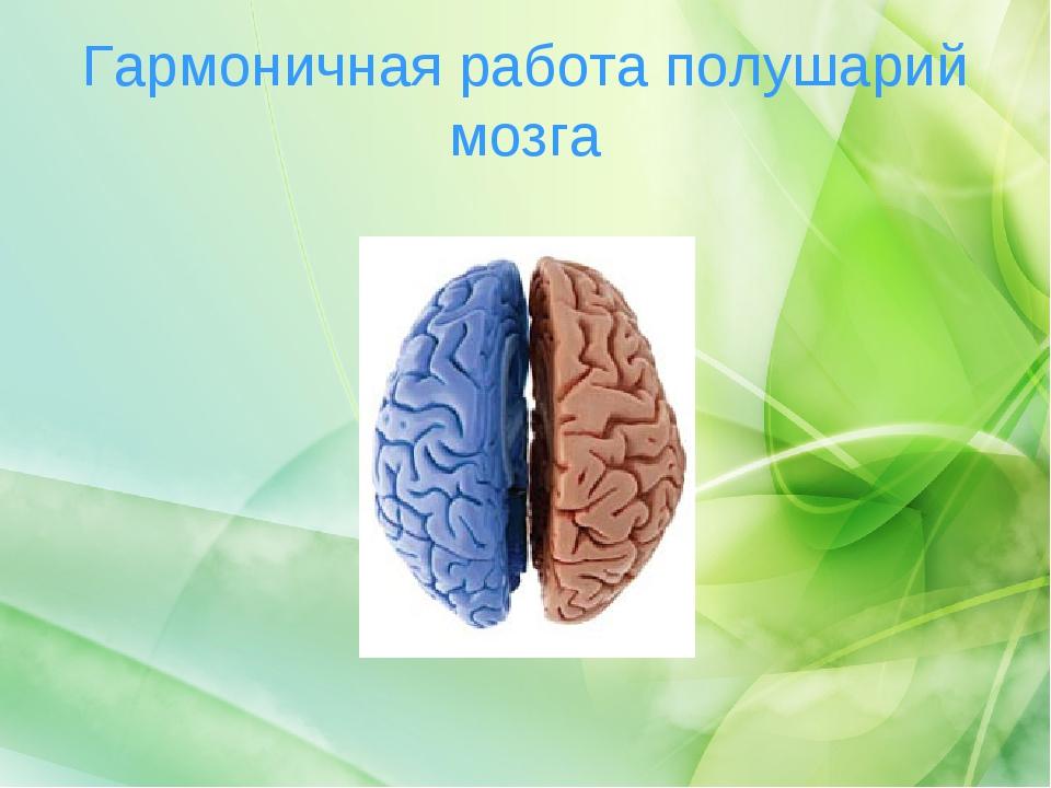 Гармоничная работа полушарий мозга