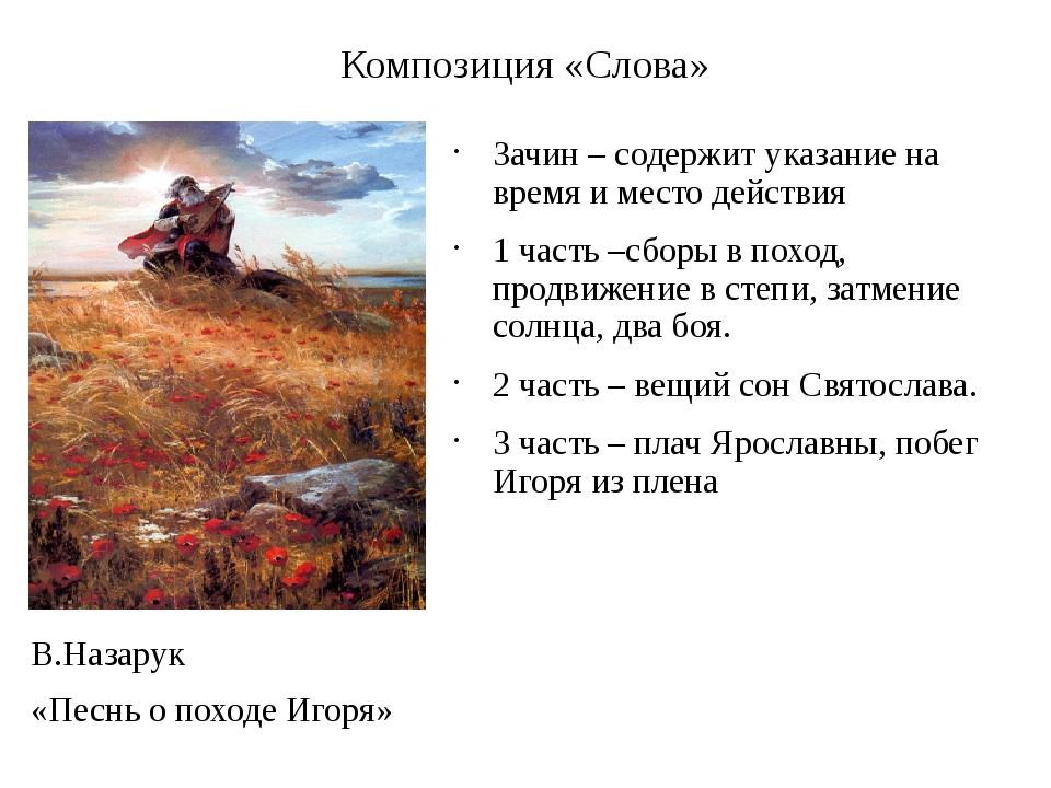 Композиция «Слова» Зачин – содержит указание на время и место действия 1 част...