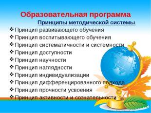 Образовательная программа Принципы методической системы Принцип развивающего
