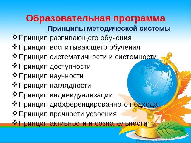 Образовательная программа Принципы методической системы Принцип развивающего...