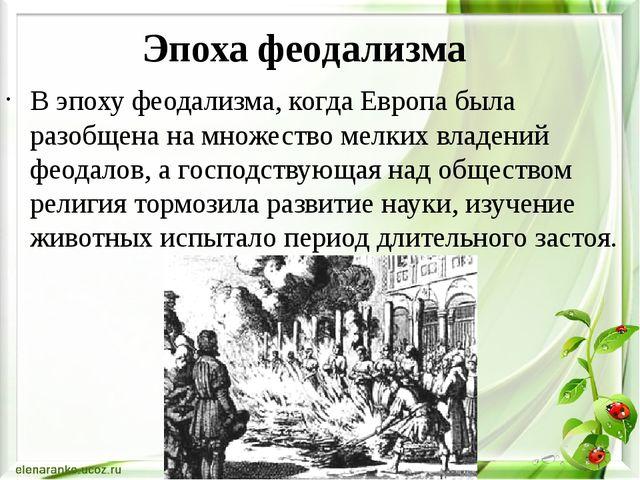 Эпоха феодализма В эпоху феодализма, когда Европа была разобщена на множество...