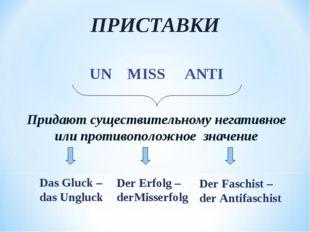 ПРИСТАВКИ UN MISS ANTI Придают существительному негативное или противоположно