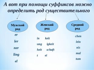 А вот при помощи суффиксов можно определить род существительного er ler ner l