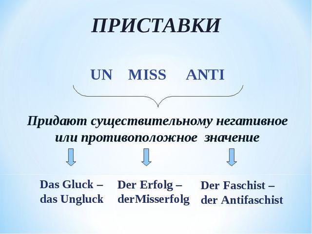 ПРИСТАВКИ UN MISS ANTI Придают существительному негативное или противоположно...