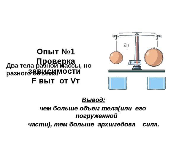 Опыт №1 Проверка зависимости F выт от Vт Два тела разной массы, но разного о...