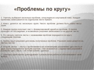 «Проблемы по кругу» 1. Учитель выбирает несколько проблем, относящихся к изу