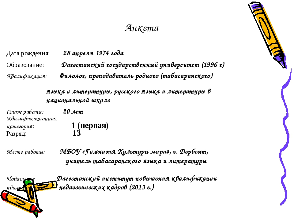 Анкета Дата рождения: 28 апреля 1974 года Образование: Дагестанский государст...