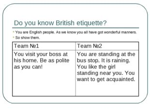 Do you know British etiquette? You are English people. As we know you all hav