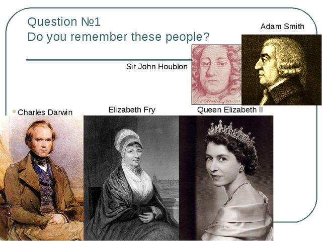 Question №1 Do you remember these people? Adam Smith Sir John Houblon Queen E...