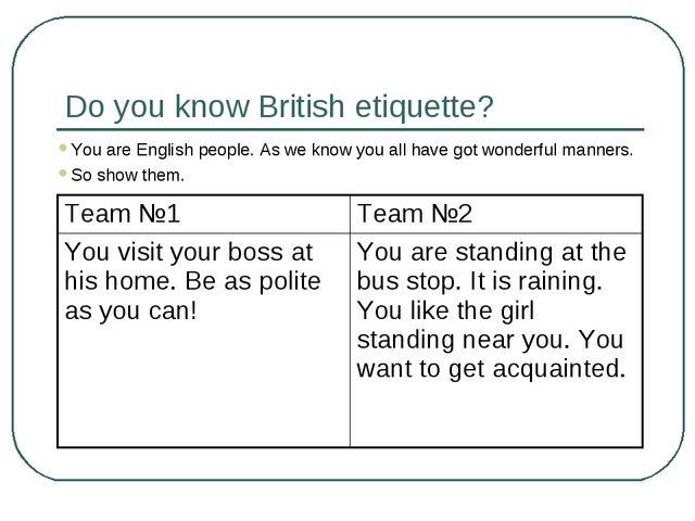 Do you know British etiquette? You are English people. As we know you all hav...