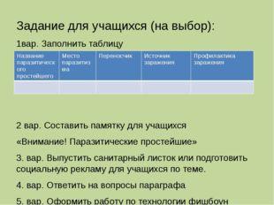 Задание для учащихся (на выбор): 1вар. Заполнить таблицу 2 вар. Составить пам