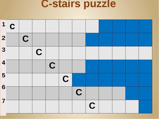 C-stairs puzzle c C C C C C C 1 2 3 4 5 6 7