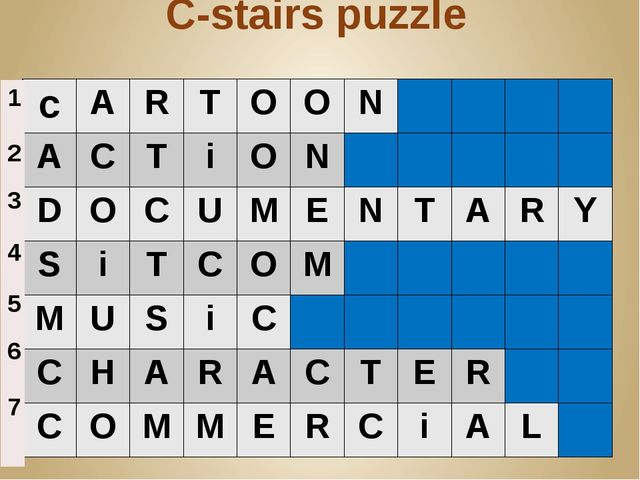 C-stairs puzzle c A R T O O N A C T i O N D O C U M E N T A R Y S i T C O M M...