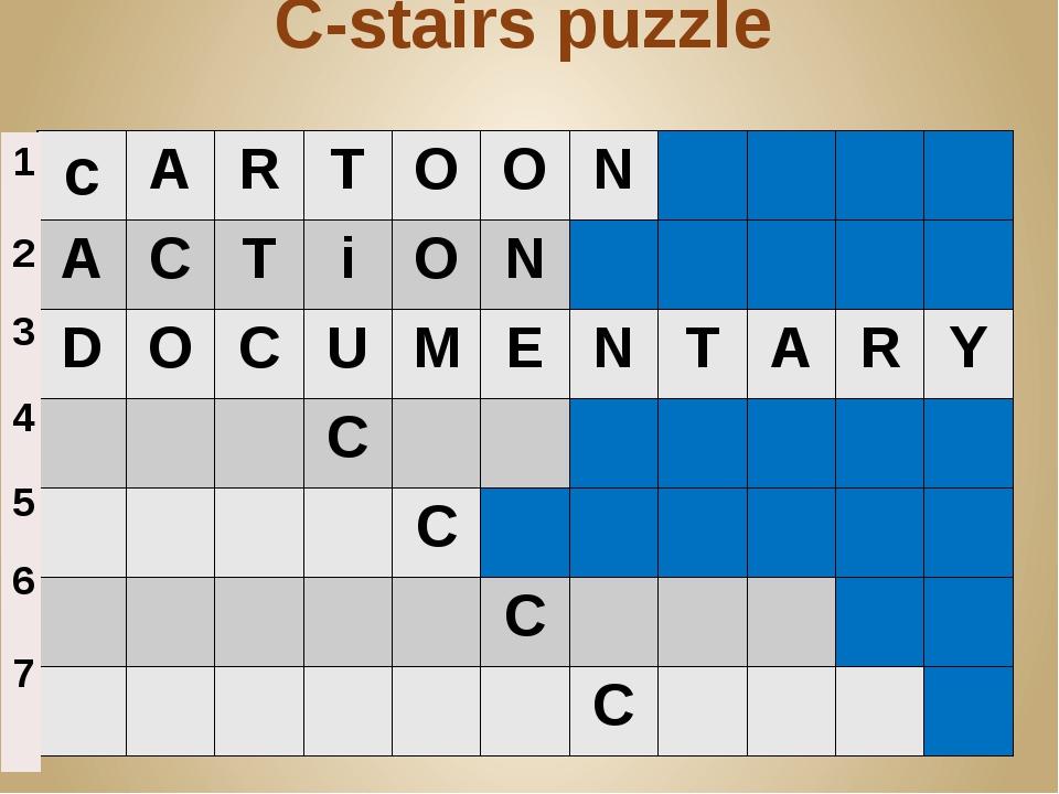 C-stairs puzzle c A R T O O N A C T i O N D O C U M E N T A R Y C C C C 1 2 3...