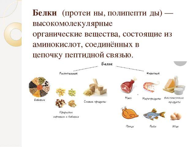 Белки́(протеи́ны, полипепти́ды) — высокомолекулярные органическиевещества,...