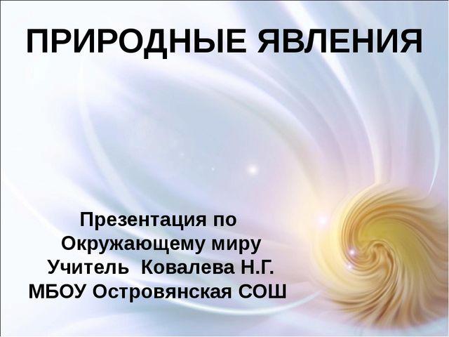 ПРИРОДНЫЕ ЯВЛЕНИЯ Презентация по Окружающему миру Учитель Ковалева Н.Г. МБОУ...