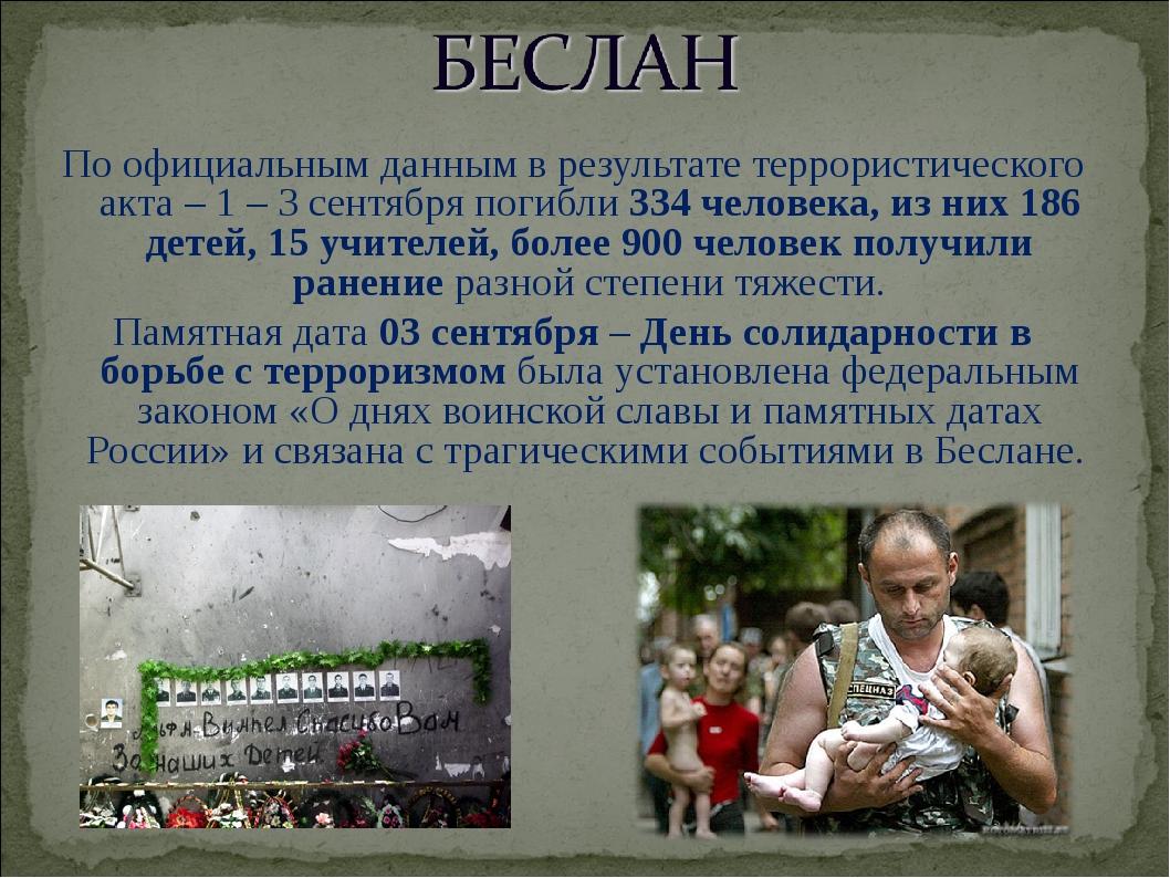 По официальным данным в результате террористического акта – 1 – 3 сентября п...