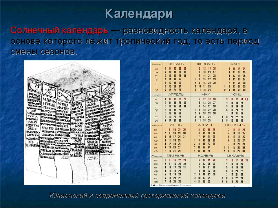 Солнечный календарь — разновидность календаря, в основе которого лежит тропич...