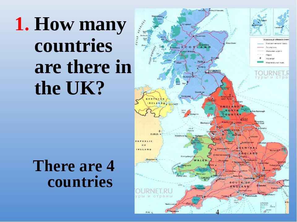 There are 4 countries How many countries are there in the UK?