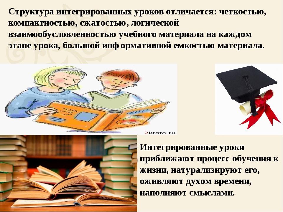 Структура интегрированных уроков отличается: четкостью, компактностью, сжато...