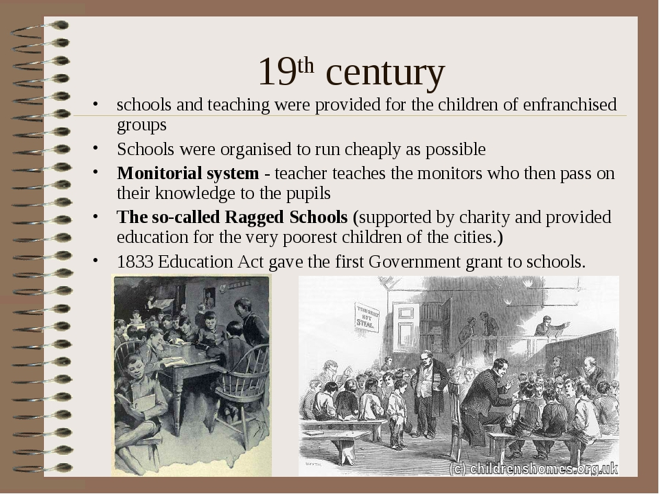 19th century schools and teaching were provided for the children of enfranchi...