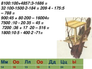 8100:100+4857:3-1686 = 32∙100-1500∙2-184 = 209∙4 - 175:5 – 788 = 900:45 + 80∙
