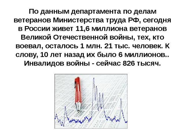 По данным департамента по делам ветеранов Министерства труда РФ, сегодня в Ро...