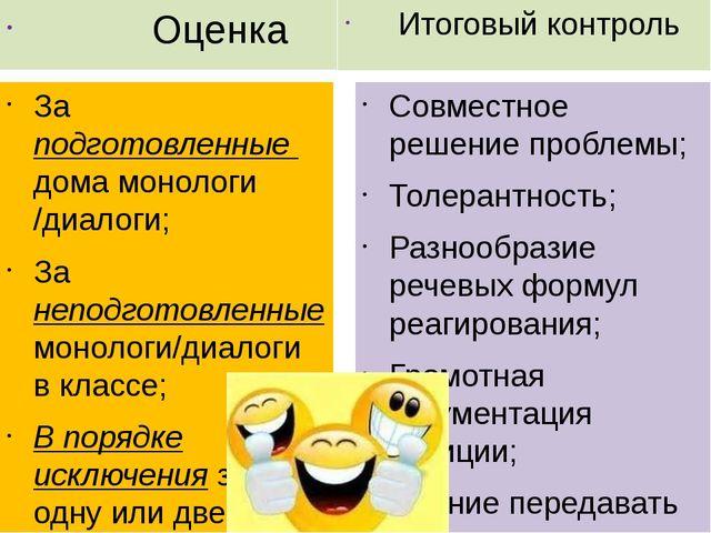 Оценка За подготовленные дома монологи /диалоги; За неподготовленные монолог...