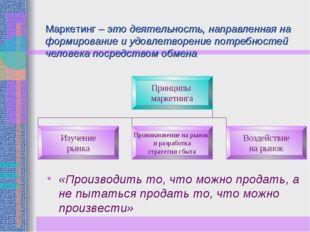 Маркетинг – это деятельность, направленная на формирование и удовлетворение п