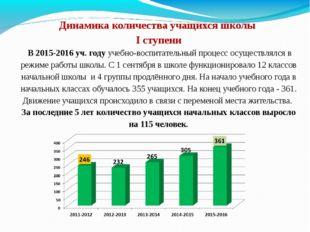 Динамика количества учащихся школы I ступени В 2015-2016 уч. году учебно-вос