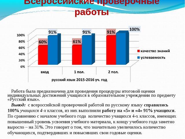 Всероссийские проверочные работы Работа была предназначена для проведения про...