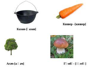 Агач-[а ғ ач] Казан-[қазан] Гөмбә- [ғөмбә] Кишер –[кишер]