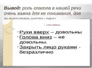 Вывод: роль глагола в нашей речи очень важна для ее понимания, для выразитель
