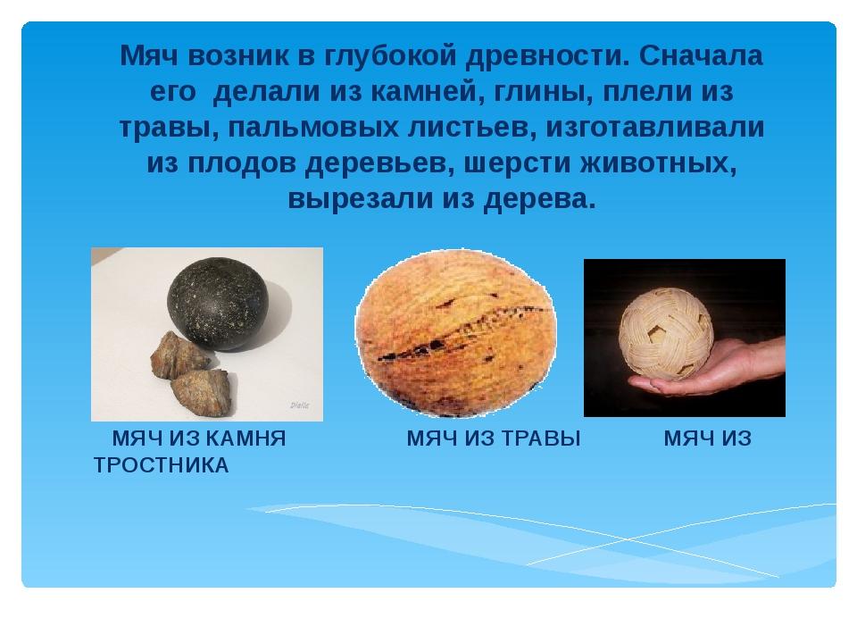 Мяч возник в глубокой древности. Сначала его делали из камней, глины, плели...
