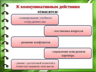 К коммуникативным действиям относятся: - планирование учебного сотрудничеств
