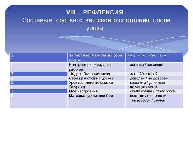 VIII . РЕФЛЕКСИЯ . Составьте соответствия своего состояния после урока : 1. З...