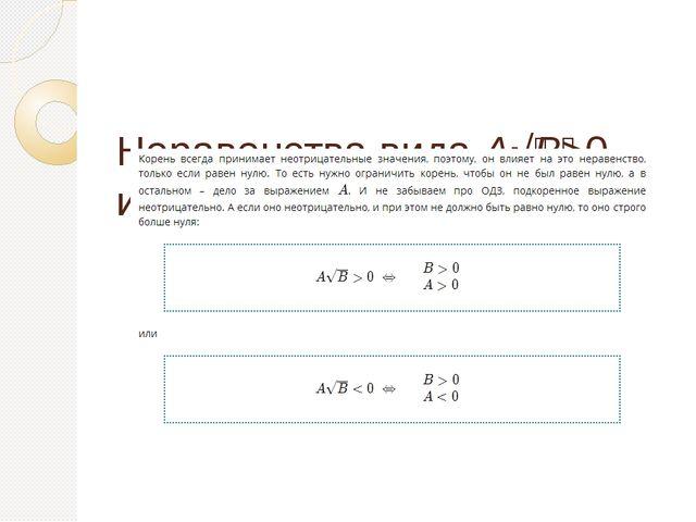 Неравенства вида A√B>0 или A√B