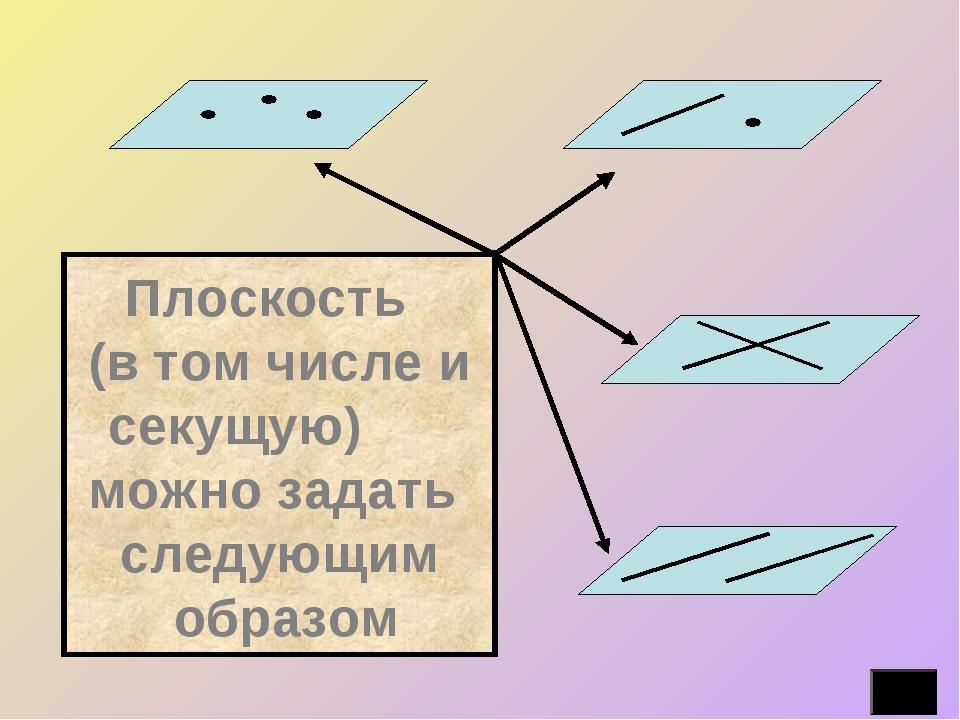 Плоскость (в том числе и секущую) можно задать следующим образом