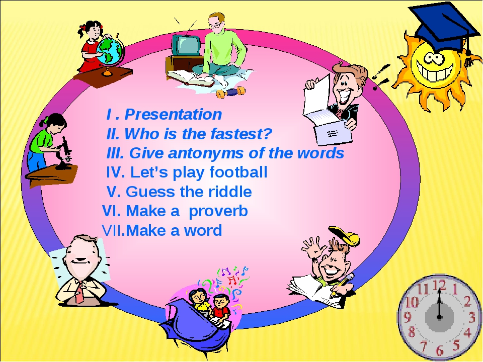 I . Presentation II. Who is the fastest? III. Give antonyms of the words IV....