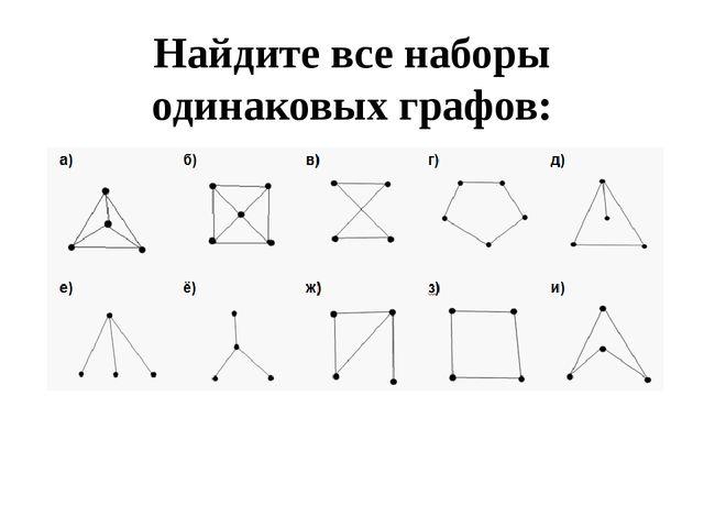 Найдите все наборы одинаковых графов:
