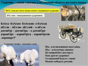 Ударение – самая сложная для усвоения область русского языка 96% слов русског