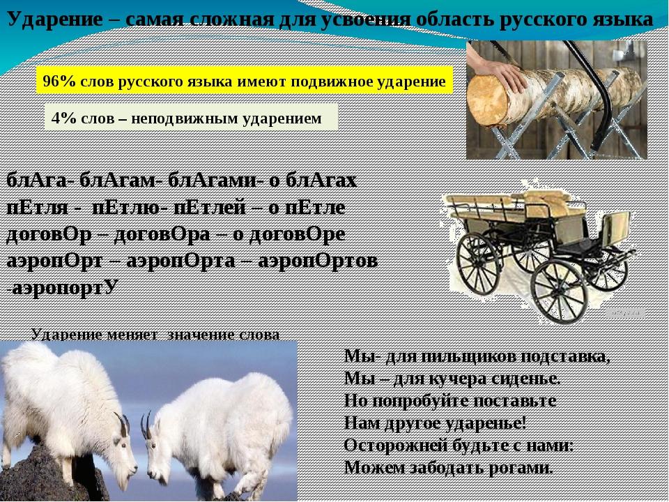 Ударение – самая сложная для усвоения область русского языка 96% слов русског...