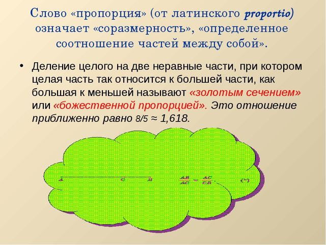 Слово «пропорция» (от латинского proportio) означает «соразмерность», «опреде...