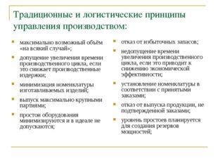 Традиционные и логистические принципы управления производством: максимально в