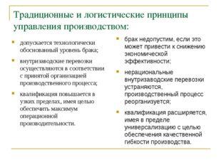 Традиционные и логистические принципы управления производством: допускается т