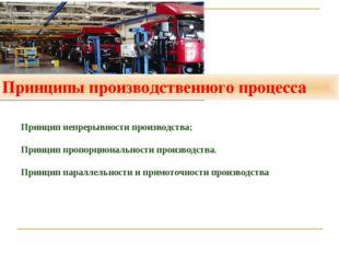 Принципы производственного процесса Принцип непрерывности производства; Принц