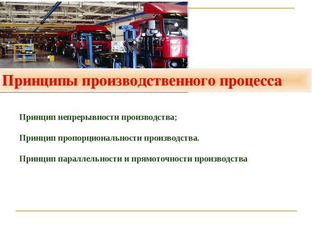 Принципы производственного процесса Принцип непрерывности производства; Принц...